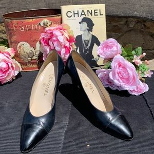 Chanel Navy Blue and Black Goat Skin Heels Size 8